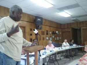 Local resident George Knight addresses Mount Gilead Town Commissioners at their meeting on May 14, 2013. (Johnny Almond photo)