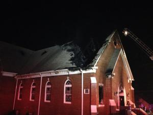 First Baptist Church, Biscoe, N.C., sustained heavy damage as the result of an early morning fire, July 22, 2014. (Steve Tedder photo)